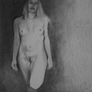 Jny - Gesso, graphite et pierre noire sur toile - 41 x 33 cm - 2014