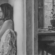 Joana - Gesso, graphite et pierre noire sur toile - 33 x 41 cm - 2014