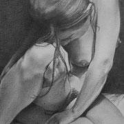 Jeanne - Gesso, graphite et pierre noire sur toile - 33 x 41 cm - 2014 - Didier Goguilly