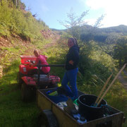 The fabulous Gillian and Morgan MacVicar pulling the trailer with our equipment and material on site. Thank you!