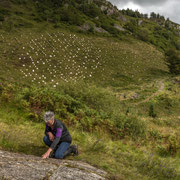 Ormaig rockart site with Ormaig Landart Project in the background. Photography: Aaron Watson