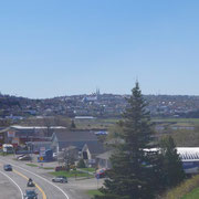Blick vom Stellplatz auf den Ort