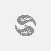 Produktlogo Shake it & Bake it, Schwarzversion, Skalierung – infragrau, gute Gestaltung