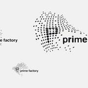 Logo prime factory, Schwarzversion, Skalierung – vormals für nullplus, Labor für Gestaltung