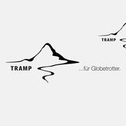 Logo für TRAMP für Globetrotter, Schwarzversion, Skalierung – infragrau, gute Gestaltung