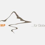 Logo für TRAMP für Globetrotter, Farbversion – infragrau, gute Gestaltung