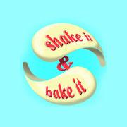 Produktlogo Shake it & Bake it, 3D-Version – infragrau, gute Gestaltung