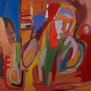 blühende Gedanken, 120x120cm, oil+acryl on canvas, banck 2008