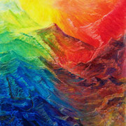 Bergwelt, Farbkreide auf Papier, 1997