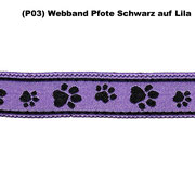 (P03) Webband Pfote Schwarz auf Lila.