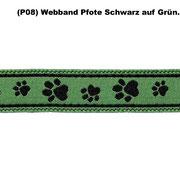 ( P08) Webband Pfote Schwarz auf Grün.