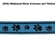 ( P05) Webband Pfote Schwarz auf Türkisblau.