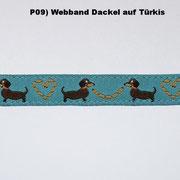(P09) Webband  Dackel auf Türkis.
