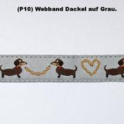 (P10) Weband Dackel auf Grau.