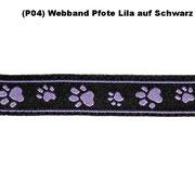 ( P04) Webband Pfote Lila auf Schwarz.