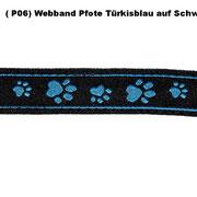 (P06) Webband Pfote Türkisblau auf Schwarz.