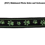 (P07) Webband Pfote Grün auf Schwarz.
