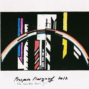The Rainbow Hours 2 of 3-Huile + Acrylique sur Rhodoïde-A4