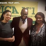 """12/10/18: Avec Madame Karine Oriot, journaliste, présentatrice de «Regards extérieurs» sur Canal 2 International (à gauche) et Madame Isabelle Boni-Claverie, scénariste, réalisatrice, présidente de l'association """"50 nuances de noir"""" (à droite)."""
