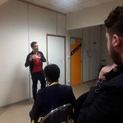 """04/05/18: Intervention de monsieur Benjamin Louis, Président de """"Coeur Handisport"""" lors de notre forum d'inclusion sociale FR ayant pour thème """"Une jeunesse devant la sensibilisation du handicap"""" à la """"Fabrique"""" à Longjumeau (91)."""