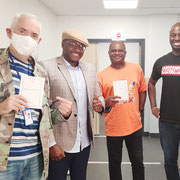 """18/08/20: Locaux de Canal Plus, Boulogne (92) avec Georges Eddy, Malik Daho (commentateurs Nba sur Canal Plus Afrique) et Vivien Boyi-Banga fondateur de """"Les Talents du 18"""""""
