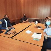 05/09/20: Réunion de travail en mairie de Poissy avec monsieur Pedro, adjoint au Maire à la cohésion sociale et la vie des quartiers, madame Lepert, conseillère municipale à la jeunesse et monsieur Djeyaramane, conseiller municipal  à la citoyenneté.