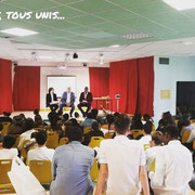 15/06/18: Après les maternelles ce matin, intervention auprès des collégiens avec le député de la 6e circonscription du Rhône LREM, monsieur Bruno Bonnell et un jeune collégien de Montreuil, le petit frère Alexandre 👍