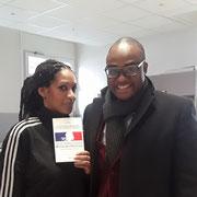 """01/03/18: Avec Katee (ancienne chanteuse R'n'b) de l'association """"Actions Ré-Elles"""" à Paris dans le 19 ème arrondissement."""
