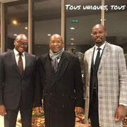 11/11/18: De gauche à droite - Abel Boyi, Président de FR, Lansana Kouyaté, ancien 1er Ministre de Guinée, Rudy Kazi, vice-président de FR.