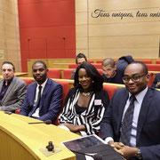 04/02/19: Avec madame Mona Abel (1ere assistante de Direction de la plateforme FR), monsieur Rudy Kazi (Vice-président de la plateforme FR) et monsieur Freddy Clairembault (Partenaire de la plateforme FR) au Sénat, conférence-débat organisée par ETIC.