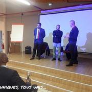 26/11/18: De droite à gauche: Monsieur Dujardin, Directeur du centre Épide de Margny-lès-Compiègne, monsieur Amine Hamidoune, docteur en islamologie et Monsieur Asif Arif, avocat, délégué départemental 93 de FR