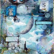 Vivre un Rêve - collage sur toile, techniques mixtes. (38x46cm - 250€) ©B.Dupuis
