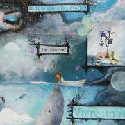 Vivre un Rêve (détail) - collage sur toile, techniques mixtes. (38x46cm - 250€) ©B.Dupuis