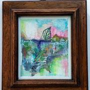 Paysage abstrait - collage mix média - environ 13 cm (encadré) - 30€ @B.Dupuis