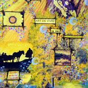 Chemin de Joie - collage sur toile, techniques mixtes. (38x46cm - 250€) ©B.Dupuis