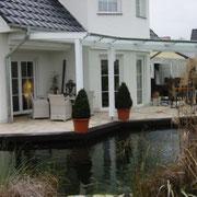 Terrassendach mit Eckumbauung Leimholz/Glas