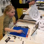 """""""Portrait"""" Monotypiedrucke Kreamontschule 2013"""