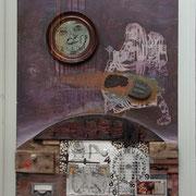 """""""...eine Meile...""""Assemblage auf Holz (72x95) 2006"""