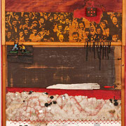 """Cést la vie"" Asseblage auf Holz (57x123) 2005"
