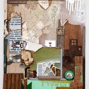 """""""Schrebergartenfragmente"""" Assemblage auf Holz (98x113) 2006"""