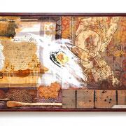 """""""Kindheitserinnerungen"""" Assemblage auf Holz (112x97) 2006"""