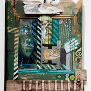 """As time goes by"" Assemblage auf Holz (64x82) 2011"