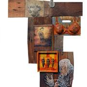 """""""Frauenzimmer""""1 Assemblage auf Holz (74x114) 2013"""
