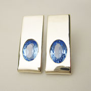 Ohrstecker, Silber mit blauen, synthetischen Spinellen