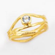 3er-Ring, feingoldplattiertes Silber mit Aquamarin