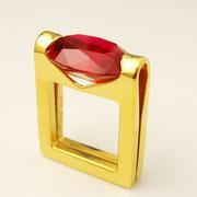 Ring, feingoldplattiertes Silber mit rotem synthetischen Rubin