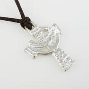 Keltisches Kreuz aus 1000er Silber an Lederband