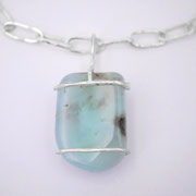Rohsteinanhänger Opal, Silber