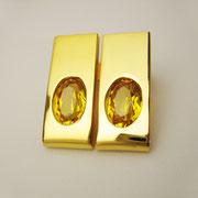 Ohrstecker, feingoldplattiertes Silber mit gelben synthetischen Saphiren