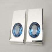 Ohrstecker, Silber mit synthetischen Spinellen in London Blue